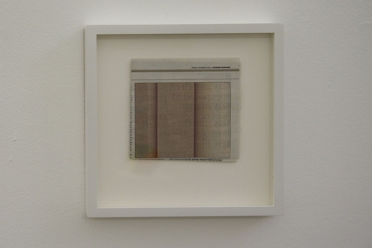 Conference n. 4 (burlywood2), 2011. Collage, 26x26cm. Installation view at Monitor, Rome
