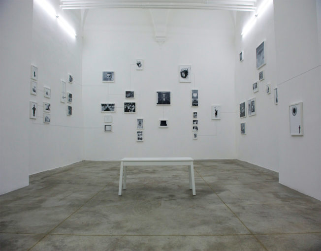 Assembly Instructions (The Pledge- Alfredo Arias), 2011, forty seven, framed inkjet ultrachrome archival prints and dotted pencil lines; installation view at Monitor, Rome