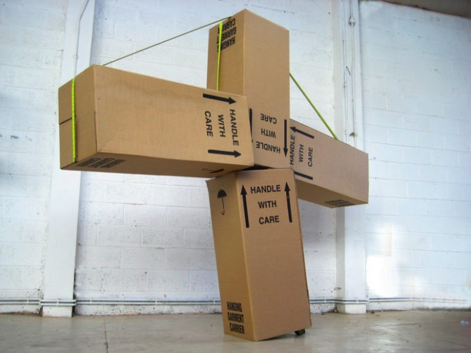 Trauma Monument, 2008, 4 x cardboard boxes, 2 x tape measure, cm 330x330x60