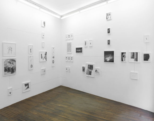 Assembly Instructions (The Pledge- Leah Kelly), 2011, thirty seven, framed inkjet ultrachrome archival prints and dotted pencil lines; installation view at Art:Concept, Paris