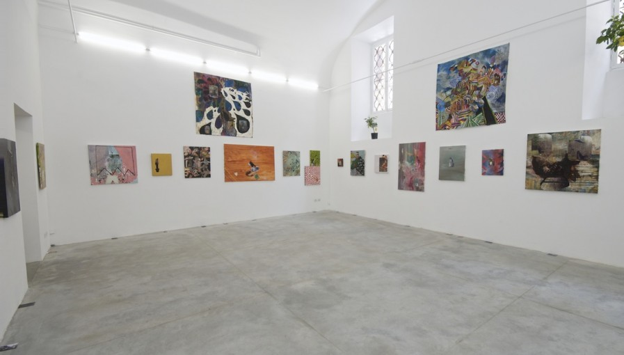 Adam Avikainen, Shallow Karaeiga, 2009, acrylic and photo on canvas, photo and ink, oil pastel, water colour on handmade paper, installation view at Monitor, Rome