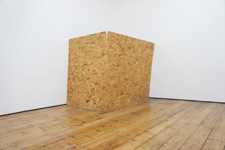 Sheet cracked and stood, 2011, 8x4 OSB board, cm 122x235x45