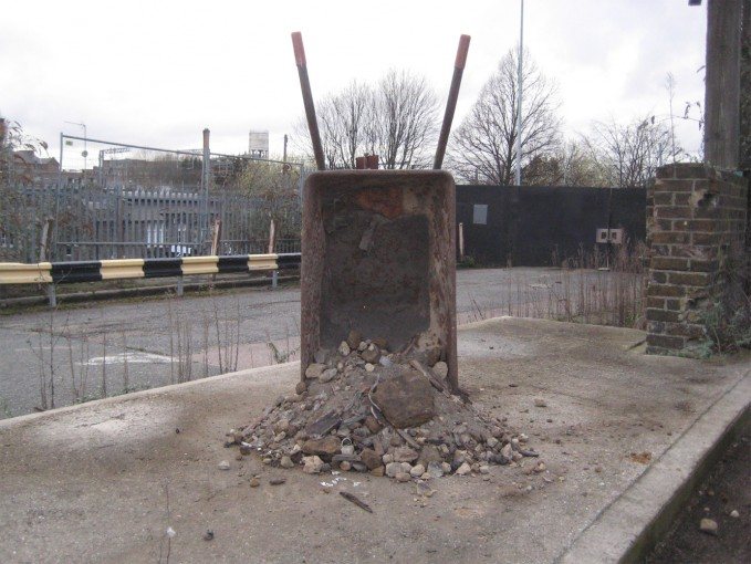 Sculpture lxi Local Survey (wheelbarrow / performance documentation), 2010, wheelbarrow, survey and local materials, variable dimensions