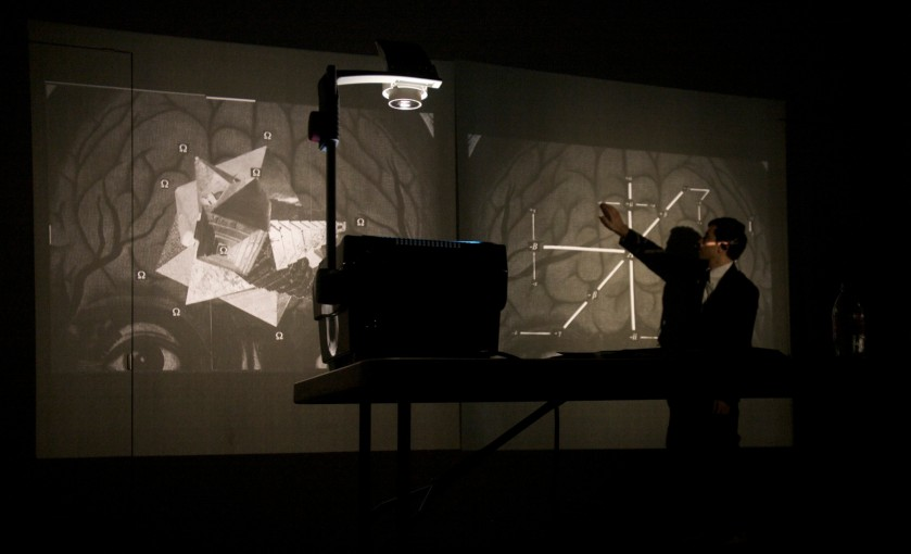 Assembly Instructions Lecture (tangential logick, tangential magick), 2009, performance with two OHP projectors and transparencies, Renwick Gallery, NY