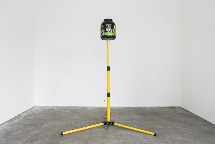 Serious MASS, 2016, Serious MASS Protein Powder keg, aluminium rubber and plastic, 180cm x 120cm x 120cm, installation view at CANAL, London