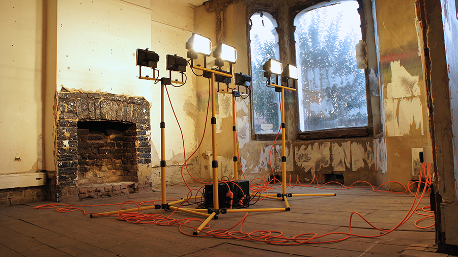 The Divided Self  2016, site lights, cabling, 1000 most common words, media player and speakers, 280cm 310cm x 310cm