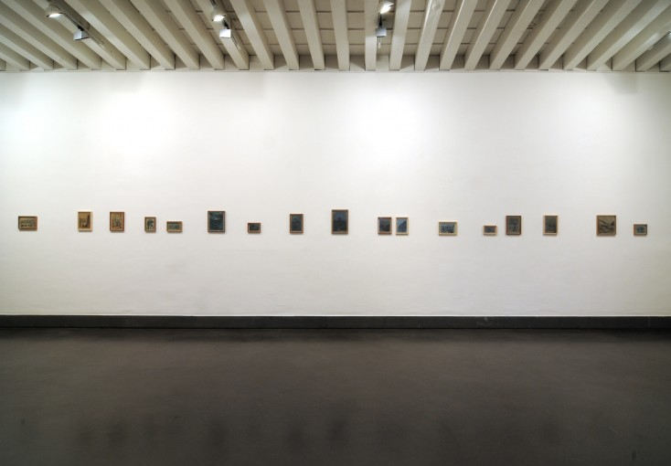 The Hunter and the Hunted, 2008, 17 drawings, pencil and spray paint on paper, cm 40xm 5; installation view at GAMeC, Bergamo