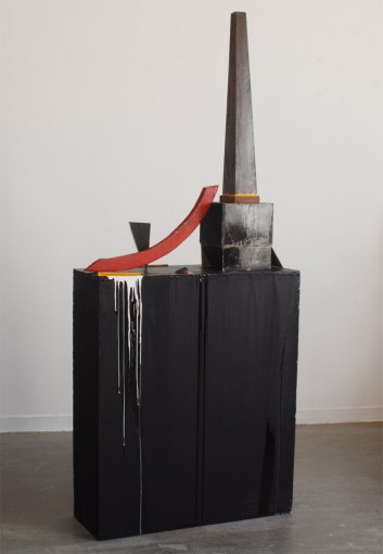 Usine occupée, 2010, wood, acrylic, varnish, cm 201x32x85
