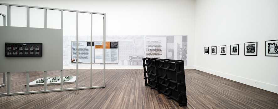 "Model for a Life Without Democracy, 2012 220,5cm x 20cm x 120 cm; wood, acrylic; Installation view from ""Newtopia"" exhibition at Mechelen Cultural Centre, Belgium"