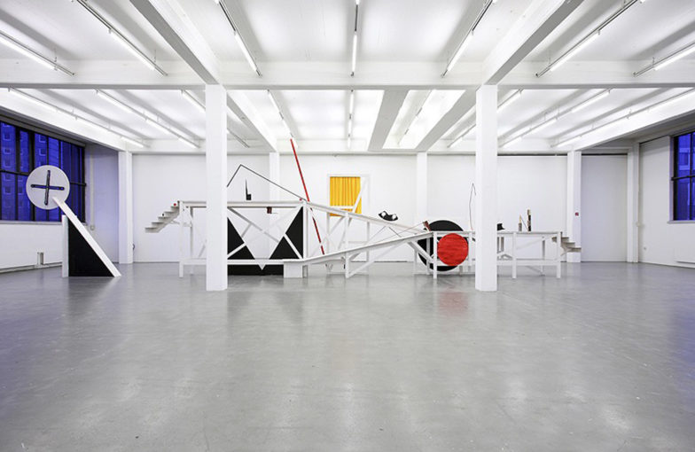Gaining socialism while losing your wife (After Popova's Set Construction for 'Le Coçu Magnifique', 1922), 2009, wood, acrylic, iron, plywood, spray, fabric, cm 450x170x92; installation view at Kunstverein Hamburg, Germany