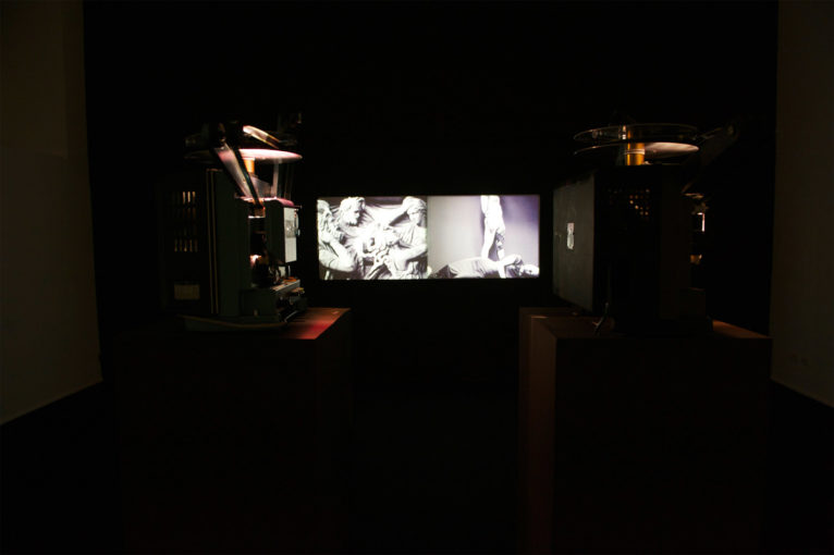 Last Hours of Ancient Sunlight, 2009, 16 mm double screen; installation view at Monitor, Rome