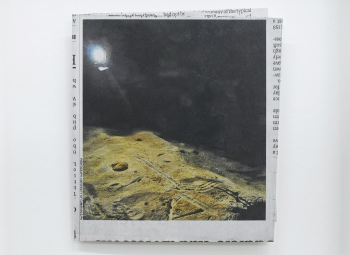 Four Marks in Red Clay, 2011, newspaper collage, 24.7 x 24.7 cm, framed