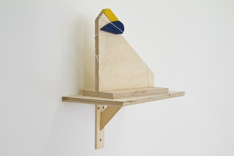 Proposal for a Monument ready to Collapse (Welfare State) , 2011; Wood, plywood, acrylic 30 cm x 24 x 20 cm