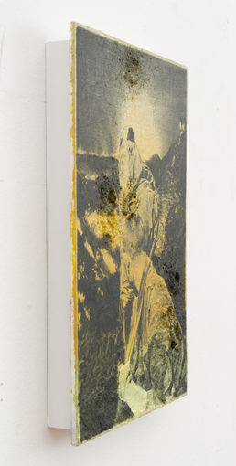 Figure in a Landscape VIII, 2014, oil on spray paint on resin, 27,3 x 18,4 x 0,7 cm