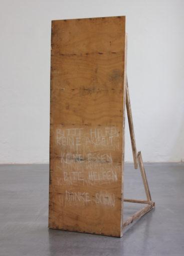 The Good Samaritan, 2015 wood, plywood, organic matter, chalk 173 x 100 x 60 cm