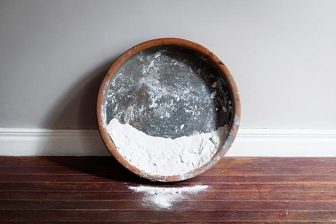 Moon within Sun is a Communal Land, 2016, clay, corn flour, plaster, Diam: 70 x 42 cm