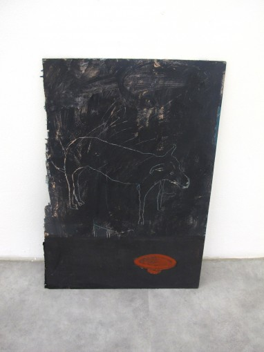 I miss our dog, 2013. Oil, acrylic, gouache, crayon, charcoal, on plywood, 50 x 30 cm. Installation view at Chinese Whispers, Cura.Basement, Rome