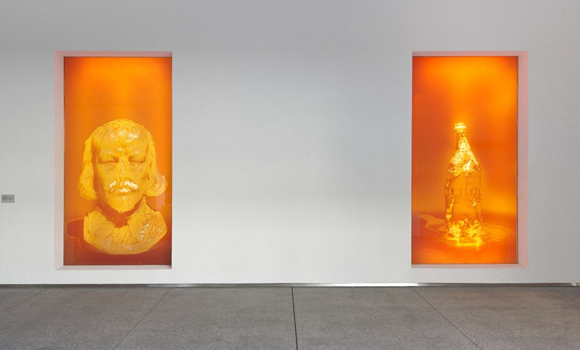 Half Drunk Shakespeare with Teeth (& 3 Bottles of Juice), 2014, installation view at Hammer Museum, Los Angeles