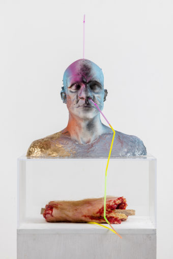 Gold Brain System (Drinkable;Cannibal), 2016, resin, straws, perspex box, cm 180 high x 58,4 deep x 53,3 wide