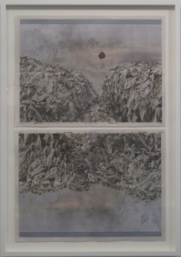 While exposing a product of faith, 2013, newspaper collage, white wooden framed, 105.2 x 74,5 x 4,5 cm