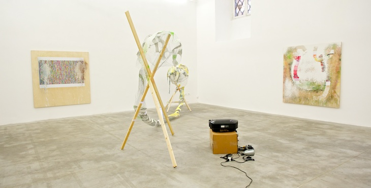 Nathaniel Mellors, Recent collaborations before THE SAPROPHAGE, 2012. Installation view at Monitor, Rome