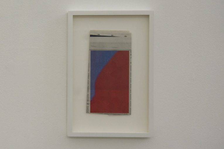 Conference n. 3 (Slateblue3, brownmadder), 2011. Collage, 24,5x36,5cm. Installation view at Monitor, Rome.