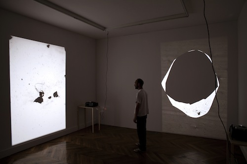 Tomaso De Luca,  Sad Disco Stone Men, 2012, mixed media, slide projections, installation view at La Galerie, Centre d'art contemporain, Noisy-le-sec
