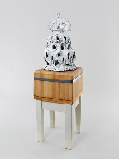Peter Linde BuskThe mind is its own place, and in itself can make a heav'n of hell, a hell of heav'n, 2014, fired and glazed ceramic, modified butcher's block,  74 x 31 x 39 cm, butcher's block: 85,5 x 50 x 50 cm