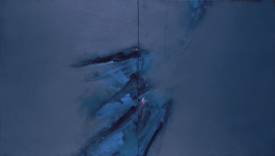 Claudio Verna, Note a margine,1998, oil on two canvases, 80 x 140 cm