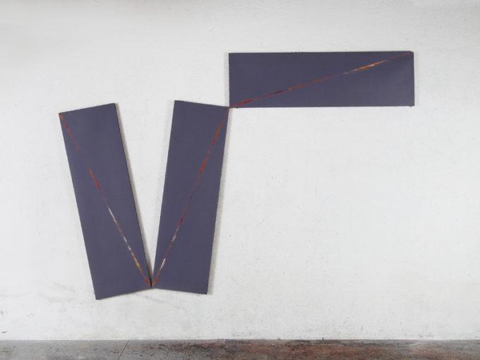 Claudio Verna, A47, 1971, acrylic on three canvases, 170 x 150 cm each