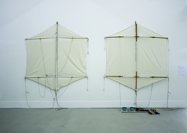 The invisible message, 2011, two kites, ground rods, copper wires, electrical multimeters, ropes, gloves, hammers, variable dimensions