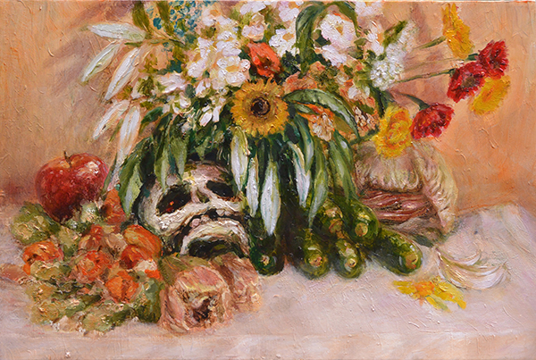 Natura morta con teschio e zucchine, 2015, oil on canvas, 35 x 40 cm