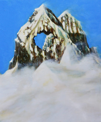 Non tutte le montagne vengono con il buco (Mount Cuguluf), 2015, oil on canvas, 120 x 100 cm
