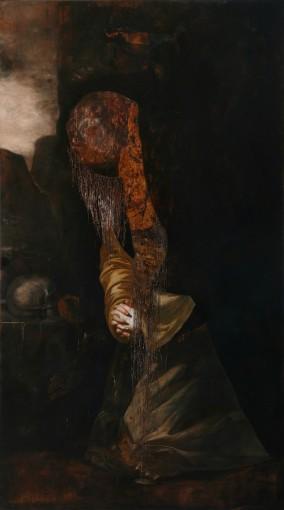Il pettine, 2016, oil on copper, 180 x 100