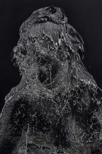 Nicola Samorì, Fante, 2015, oil on board, 170 x 95 cm