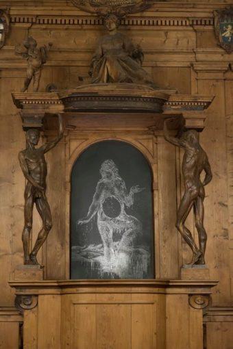 Nicola Samorì, Fante, 2015, installation view from the exhibition Gare du Sud at Teatro Anatomico dell'Archiginnasio, Bologna