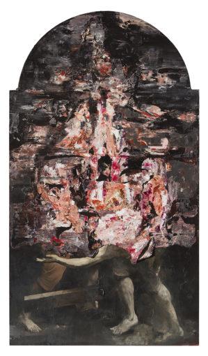 Nicola Samorì, San Pietro all'inferno, 2016, oil on linen, 300 x 170 cm