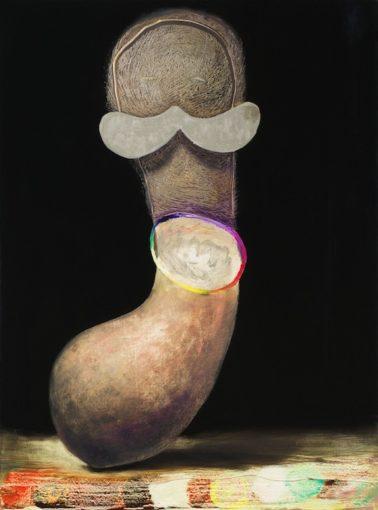 Benedikt Hipp, Concrete mustache, 2015, oil, cement, varnish on Mdf, 58 x 43 cm