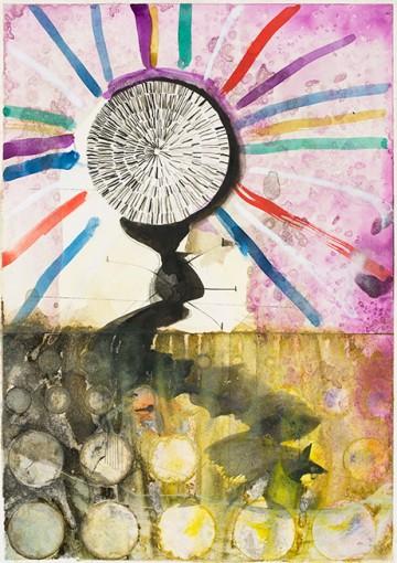 Benedikt Hipp, Gesunder Ort, 2015, indian ink, watercolour, pencil on paper, 29,7 x 21 cm