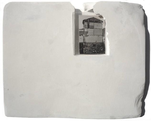 Affreschi, 1973, plaster, powdered pigments, gelatine silver print, 37 x 43 cm