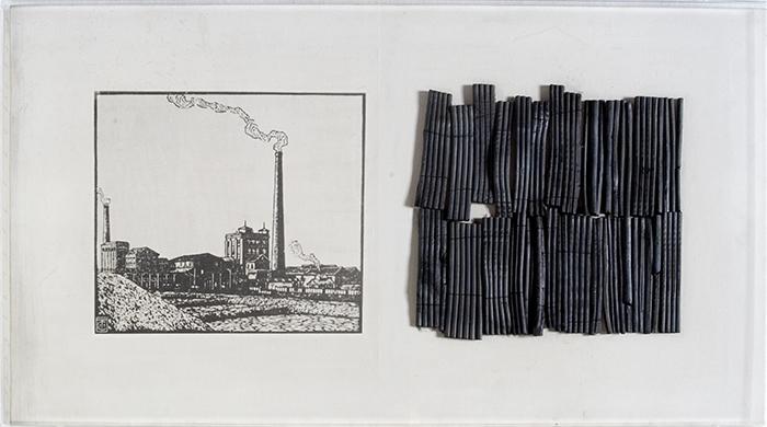 Dentro l'immagine, 1974, shrub on emulsified canvas, 50 x 90 cm