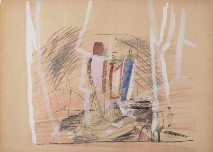 Nell'insidia della soglia,  1983, graphite and pastels on tracing paper, 50 x 70cm