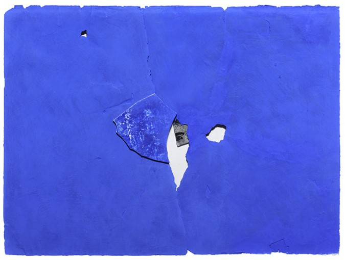 Spie, 1980, plaster and pigments on paper, silkscreened plaster fragments, 60 x 80 cm
