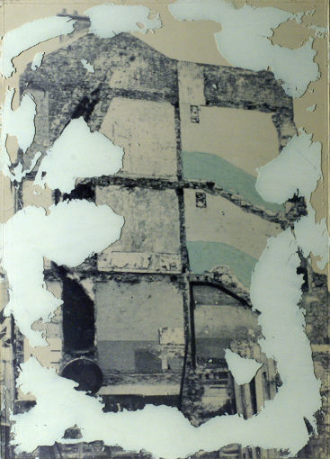 Affreschi, 1973, photographic sheet and plaster on glass, 69 x 49 cm