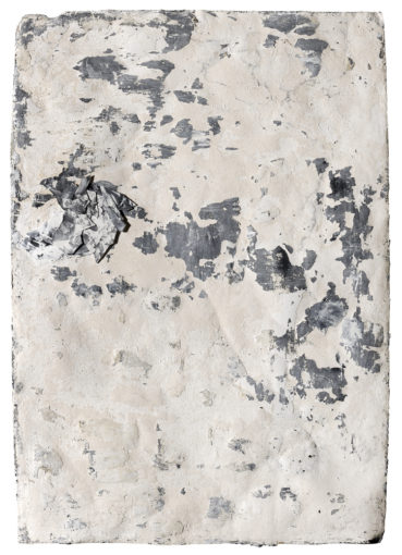 Archeologie senza restauro, 2014, mixed media on paper, quartz powder and print on plaster, 136 x 98 cm