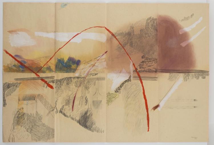 Paesaggio con pennelli,  1987, graphite, acrylic, pastels on paper, 100 x 100 cm