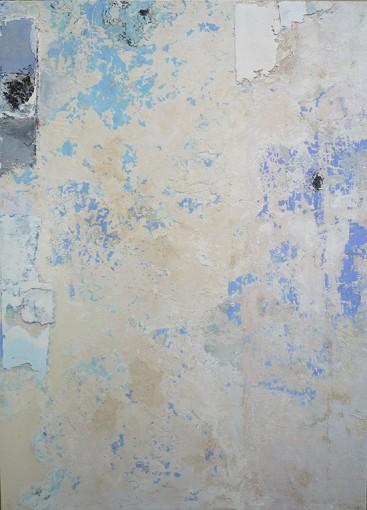 Strappo d'affresco, 2016, plaster, tarlatan and pigments on board, 150 x 100 cm