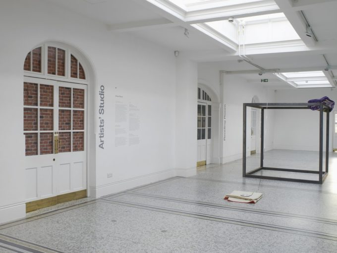 Eric Bainbridge, That Turangalila Symphony really rocks man, 2012, Steel, Polyester blanket, woolen blanket, Audio Tape and Reel, Installation view at Camden Arts Centre, 230 x 200 x 400 cm