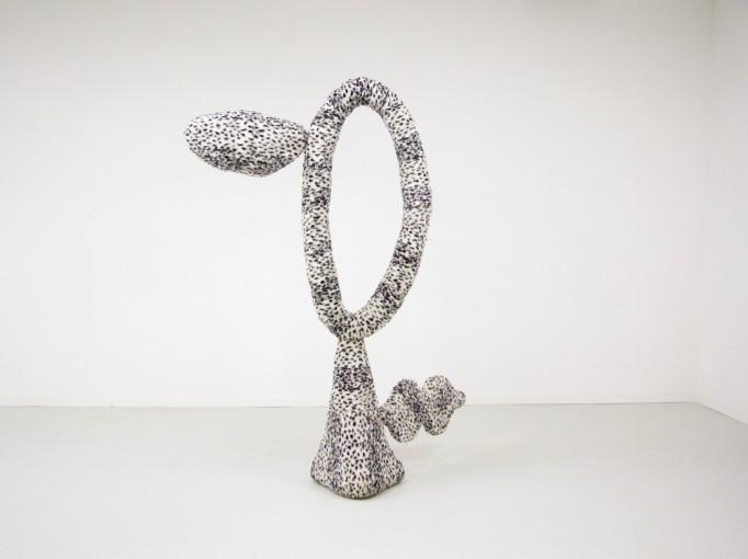 Eric Bainbridge, PELOUCHE 2, 1985, Ocelot fur fabric, chicken wire, plaster, and steel, 230 x 160 x 100 cm