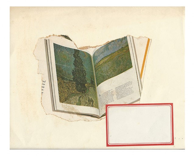 Red Line, 1980, collage on paper, white wooden frame, 25,4h x 26,6w unframed, 36h x 37,5w x 4d cm framed